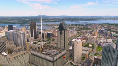 Montreal Quebec Aerial v131 Flying low over downtown buildings with cityscape views 717