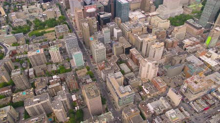 Montreal Quebec Aerial v130 Birdseye view flying over downtown