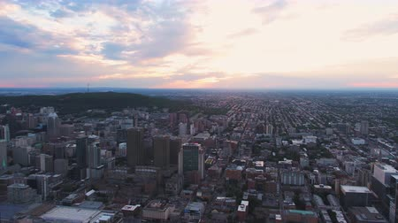 Montreal Quebec Aerial v133 Flying over downtown panning with cityscape views sunset 717 Stok Video