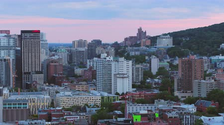 Montreal Quebec Aerial v137 Flying low over downtown panning with cityscape views dusk 717
