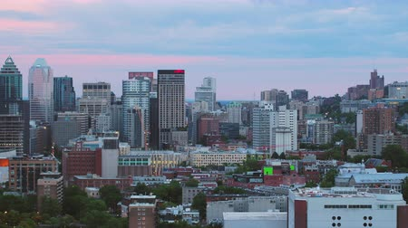 Montreal Quebec Aerial v141 Flying low across downtown with cityscape views at dusk 717 Stok Video