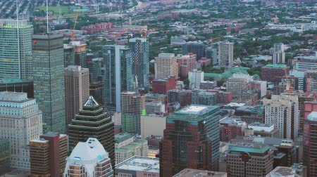Montreal Quebec Aerial v140 Birdseye view flying low over downtown panning up cityscape 717 Stok Video