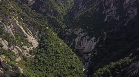 birdseye : China Mt Huashan Aerial v1 Flying over mountain climbing path 517