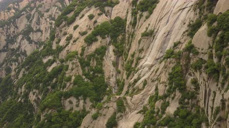 shaanxi : China Mt Huashan Aerial v2 Flying over mountain climbing path 517 Stock Footage