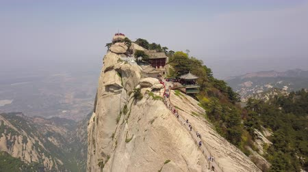 birdseye : China Mt Huashan Aerial v16 Flying along mountain climbing path and peak 517