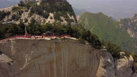 shaanxi : China Mt Huashan Aerial v17 Flying over mountain climbing path and peak 517