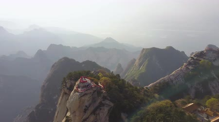 xian : China Mt Huashan Aerial v23 Flying besides mountain climbing path and peak 517 Stock Footage