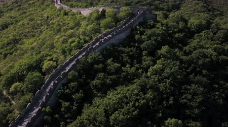 низкий : China Great Wall Aerial v1 Flying low besides famous structure 517