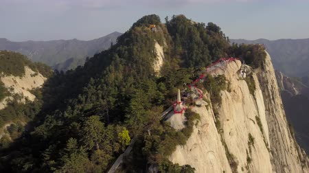 xian : China Mt Huashan Aerial v24 Flying besides mountain climbing path and peak 517