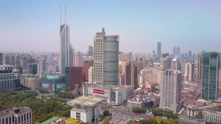 birdseye : China Shanghai Aerial v17 Flying over Peoples Square with cityscape views 517 Stock Footage