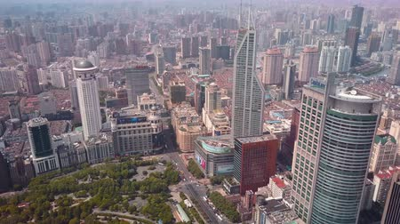 nanjing road : China Shanghai Aerial v22 Birdseye flying over Peoples Square with cityscape views 517