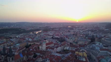 austro hungarian : Czech Republic Prague Aerial v12 Flying low around Old Town area cityscape views sunrise 817