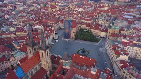 romanesk : Czech Republic Prague Aerial v14 Birdseye flying low around Old Town Square sunrise 817