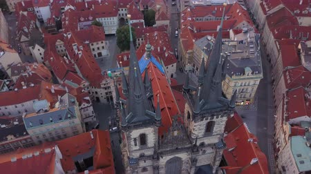 romanesk : Czech Republic Prague Aerial v18 Birdseye flying low around Church of Our Lady before Tyn towers 817