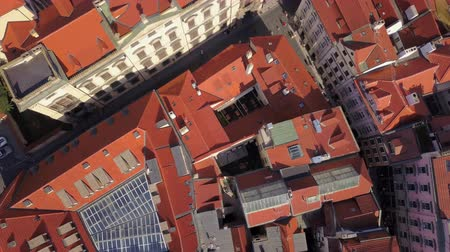 Богемия : Czech Republic Prague Aerial v21 Vertical view flying low over Old Town area 817 Стоковые видеозаписи