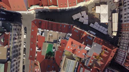 terrakotta : Czech Republic Prague Aerial v23 Vertical view flying low over Old Town area 817