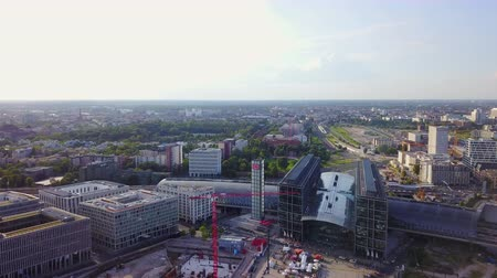 merkezi : Germany Berlin Aerial v24 Flying low around Central Station area with cityscape views 817 Stok Video
