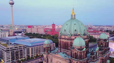 birdseye : Germany Berlin Aerial v37 Flying low around Cathedral Church building cityscape dusk 817