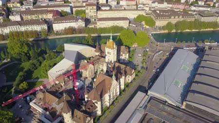 ferry terminal : Switzerland Zurich Aerial v6 Birdseye flying low around Swiss National Museum building 817 Stock Footage