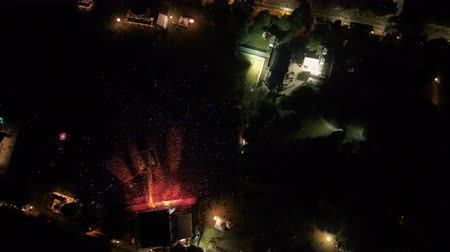 travel footage : Atlanta Aerial v311 Birdseye flying over around music festival in park night 917