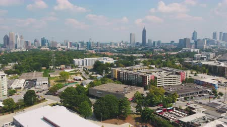 atlanta : Atlanta Aerial v331 Flying low around Westside Provisions District sunny cityscape 1117 Stock Footage