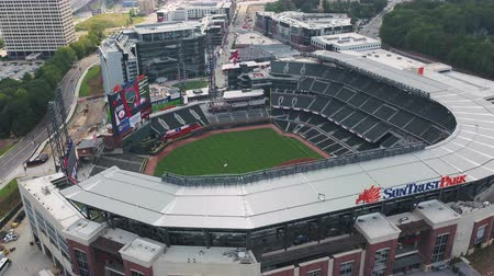 вниз : Atlanta Aerial v334 Birdseye closeup flying around baseball stadium before game 1117