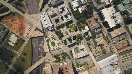 inspire : Atlanta Aerial v362 Vertical view flying over Capital building rising up sunny 1117