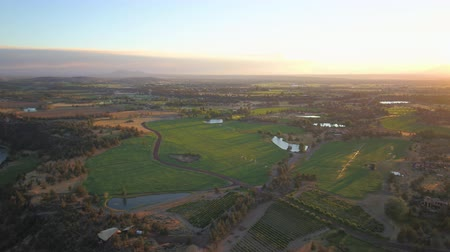 renowned : Oregon Aerial v21 Flying low around Smith Rock park area farmland sunset 817