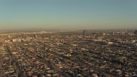 anka kuşu : Phoenix Arizona Aerial v2 Flying low over downtown area panning sunset cityscape 916