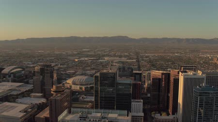 anka kuşu : Phoenix Arizona Aerial v3 Flying low over downtown area panning sunset cityscape 916