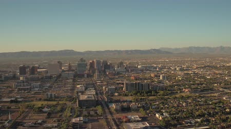 anka kuşu : Phoenix Arizona Aerial v5 Flying low over downtown area panning sunset cityscape 916 Stok Video