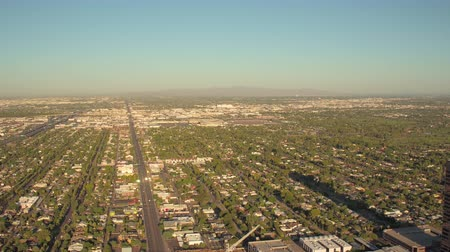 metropolitan area : Phoenix Arizona Aerial v6 Flying low over downtown area panning sunset cityscape 916