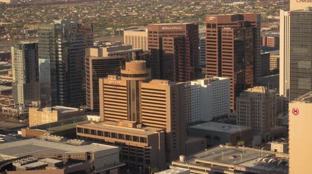 anka kuşu : Phoenix Arizona Aerial v8 Birdseye view flying low around downtown area sunset cityscape 916 Stok Video