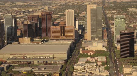 anka kuşu : Phoenix Arizona Aerial v10 Birdseye view flying low around downtown area sunset cityscape 916