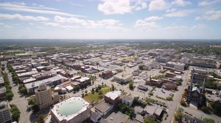 lined : Georgia Macon Aerial v3 Birdseye view flying low around downtown area 1017