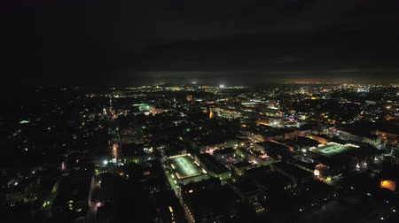 gümrük : South Carolina Charleston Aerial v2 Birdseye night view of Cooper River and French Quarter 1017