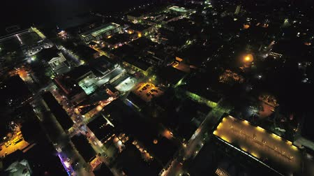 traverse : South Carolina Charleston Aerial v3 Birdseye night view crossing low over French Quarter 1017 Stock Footage