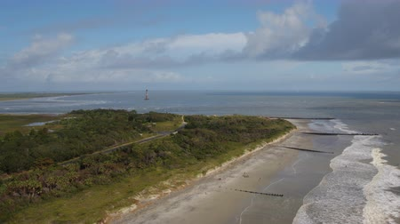 rookery : South Carolina Charleston Folly Beach Aerial v37 Flying low over Folly Beach 1017