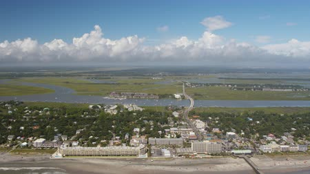backwards : South Carolina Charleston Folly Beach Aerial v53 Flying high backwards over Folly Beach 1017