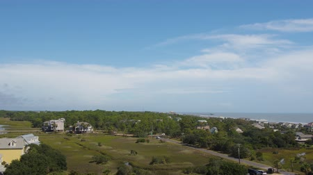 birdseye : South Carolina Charleston Folly Beach Aerial v61 Flying low over Folly Beach to birdseye view 1017 Stock Footage