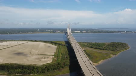 ithalat : South Carolina Charleston Aerial v68 Panning over Arthur Ravenel Jr bridge 1017 Stok Video