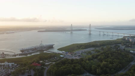 ancorado : South Carolina Charleston Aerial v132 Birdseye view panning around marina at sunset 1017