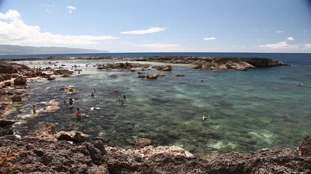 Észak amerika : Oahu, Hawaii - August 26, 2016:Scenic panorama of Sharks Cove, Hawaii, a small rocky bay side of Pupukea Beach Park. One of the best snorkeling site on Oahu in Hawaii. Stock mozgókép
