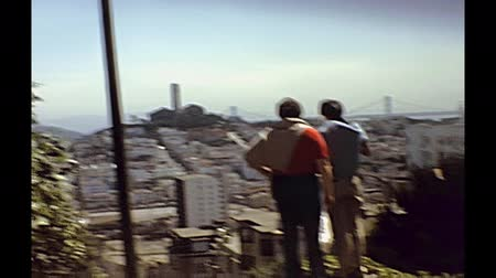 seventy : San Francisco, California, United States - circa August, 1979: seventies footage of vintage car down to the incredible Lombard Street. first persion view.