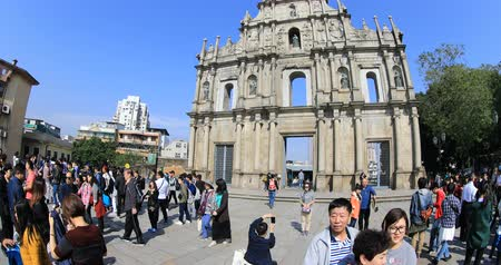 prospective : Macau, China - December 8, 2016: perspective panorama view on tourists on staircase of Ruins of St. Pauls. The iconic stone facade, is one of the most popular attractions in historic Macau