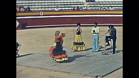 flamenco : Ibiza, Spain - circa 1973: Restored historical footage of Flamenco dancing show at El Coliseo de San Rafael arena. The old bullring in Plaza de Toros, Famous bullring from 1961 to 1985.