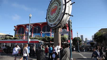north bay : San Francisco, California, United States - August 14, 2016: signboard of Fishermans Wharf waterfront of San Francisco on Jefferson road. Blue sky background on sunny day. America travel tourism. Stock Footage