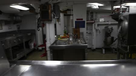 food state : HONOLULU, OAHU, HAWAII, USA - AUGUST 21, 2016: close up of preparation room with ovens and cauldrons of Battleship Missouri at Pearl Harbor a base of the marine of United States of America in Pacific