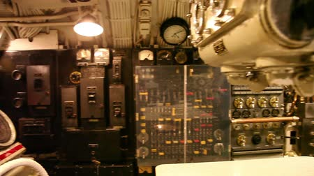 ss : HONOLULU, OAHU, HAWAII, USA - AUGUST 21, 2016: panorama of the machine engine room of USS Bowfin Submarine SS-287 at Pearl Harbor. Historic Landmark and popular tourist attraction in Oahu, Hawaii.