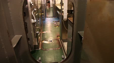 ss : HONOLULU, OAHU, HAWAII, USA - AUGUST 21, 2016: kitchen and dining room of USS Bowfin Submarine SS-287 at Pearl Harbor. Historic Landmark of the Japanese attack in WW II. Stock Footage